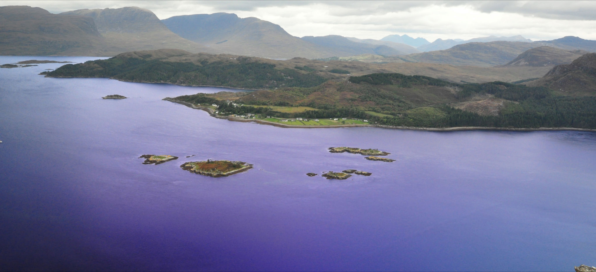 Strome Islands with Ardaneaskan and the Applecross and Torridon Hills