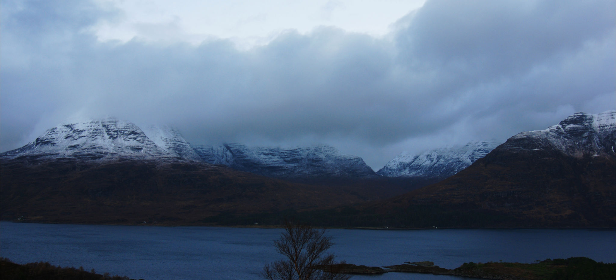 Snow on the tops of Ben Alligin, Liathach and Beinn Eighe (Torridon Hills)