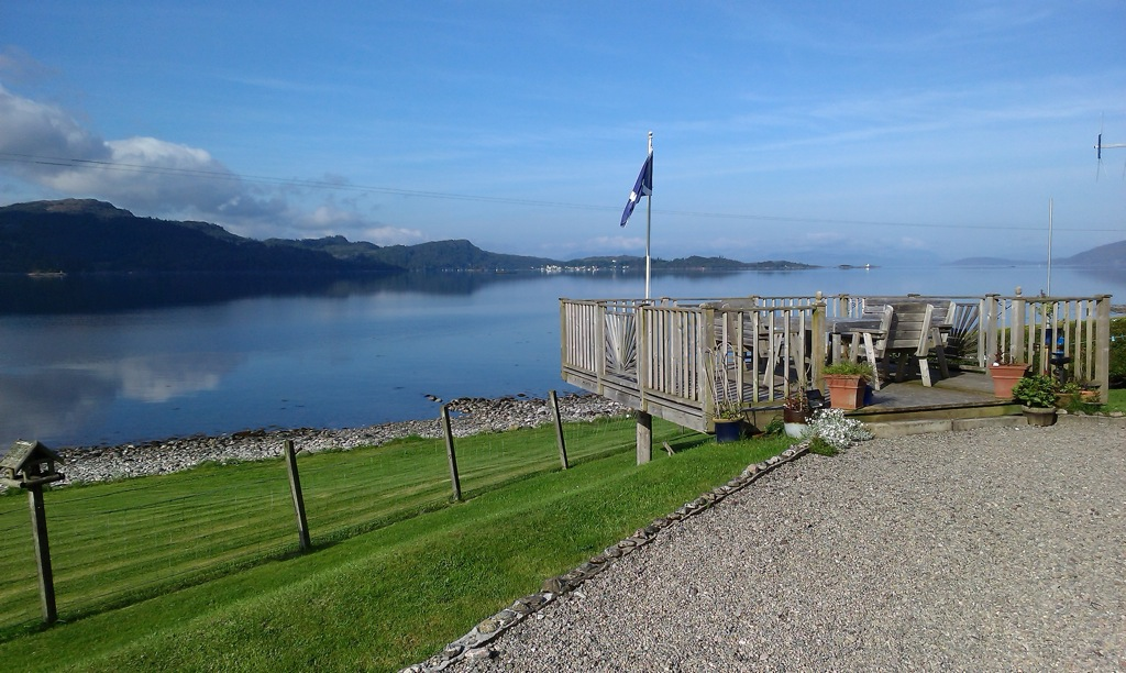 View of Plockton over the decking